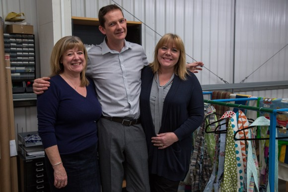 Julie Taylor of Making for Charity, with Lee, our General Manager, and Keeley, head of the Production floor.