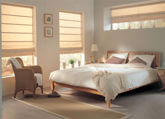 Cream roman blind - bedroom